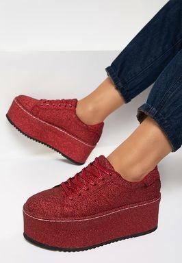 Elegance piros telitalpú sneakers